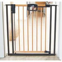 Barrière d'escalier easylock wood bois / argent 68-76 cm