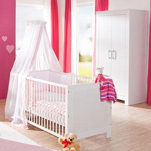 Chambre bébé complète lit + armoire marlène blanc