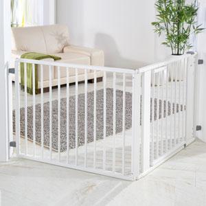 Barrière sécurité bébé à configurer 120x180cm bois blanc/blanc