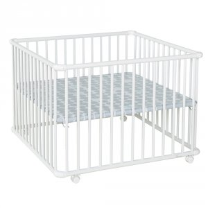Parc bébé belami+ grand modèle blanc fond pois gris