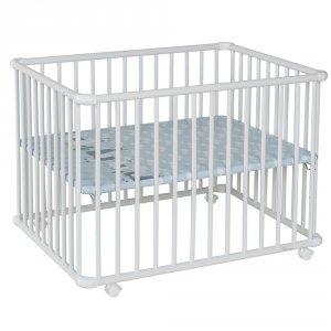 Parc bébé belami+ petit modèle gris clair fond lama