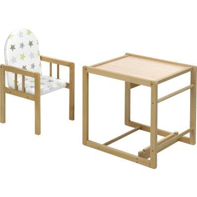Chaise haute bébé nico naturelle 2 en 1 assise étoiles Geuther