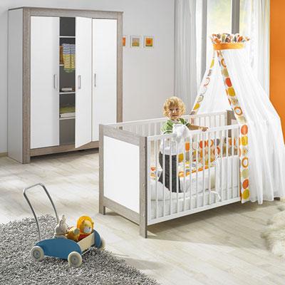 Chambre bébé duo marléne lit et armoire 3 portes cérusé/blanc Geuther