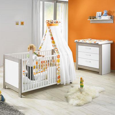 Chambre bébé duo marléne lit et commode cérusé/blanc Geuther