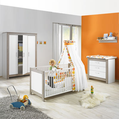 Chambre bébé trio marléne armoire 3 portes cérusé/blanc Geuther