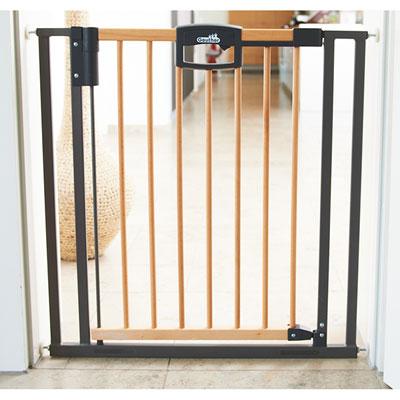 Barrière d'escalier easylock wood bois / argent 68-76 cm Geuther