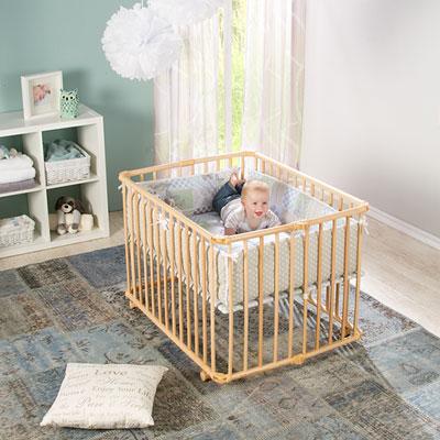 Parc bébé lucilee pliant naturel 80 x 102 cm fond etoile Geuther
