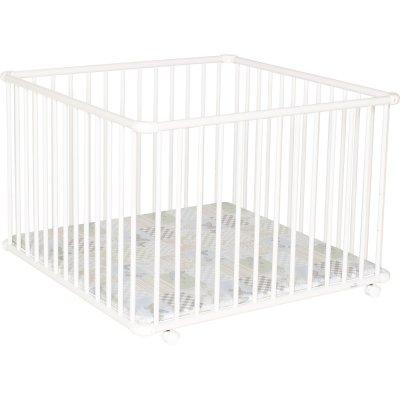 Parc bébé belami 102 x 102 cm blanc fond patchwork papillon Geuther