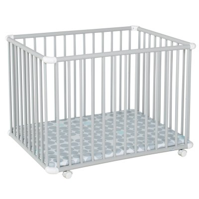Parc bébé belami+ petit modèle gris clair fond pois gris Geuther