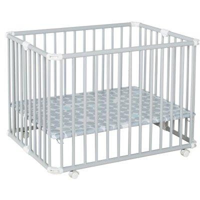 Parc bébé lucilee+ petit modèle gris clair fond pois gris Geuther