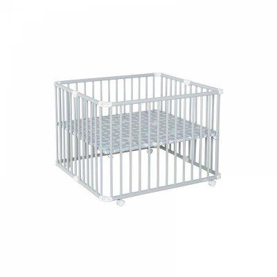 Parc bébé lucilee+ grand modèle gris clair fond pois gris Geuther
