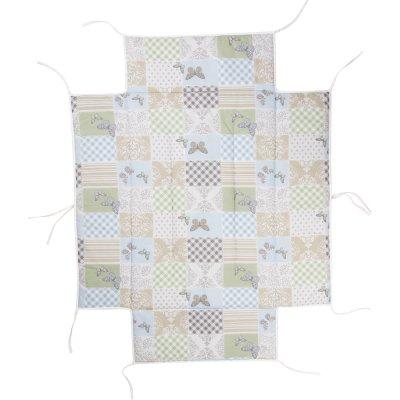 Tapis de parc avec bord rectangulaire avec fond patchwork papillon Geuther