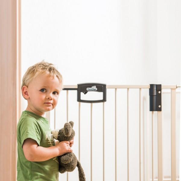 Barri re de s curit easy lock wood sans percer 68 76cm de geuther - Barriere escalier sans percer ...