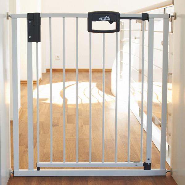 barri re de s curit easy lock m tal blanc sans percer 80 5 88 5 cm de geuther. Black Bedroom Furniture Sets. Home Design Ideas