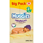 Huggies newborn t2 3/6 kg big pack de 88 couches pas cher
