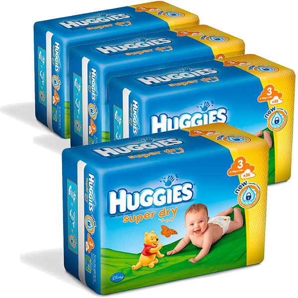 Carton de 4 paquets huggies super dry t3 4/9 kg de 34 couches Huggies