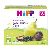 Coupelles 100% fruits poires prunes cassis
