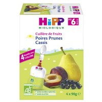 Gourde poires prunes cassis 4 x 90 g