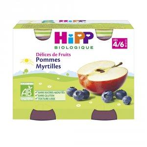 Délices de fruits pommes myrtilles 2 x 190 g dès 4 mois