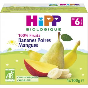 Coupelles 100% fruits bananes poires mangues