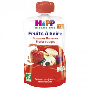 Gourde pommes bananes fruits rouges 120ml dès 12 mois