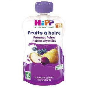 Gourde pommes poires raisins myrtilles 120ml dès 12 mois