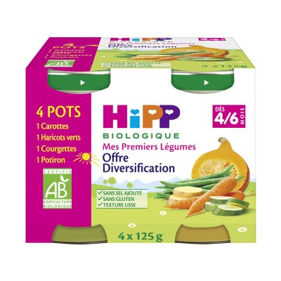 Diversification: carottes,haricots verts,courgettes,potiron Hipp