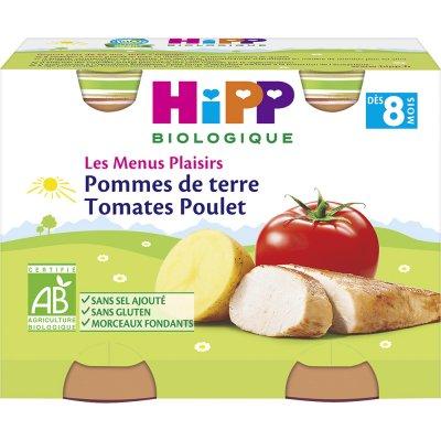 Pommes de terre tomates poulet 190g x 2 dès 8 mois Hipp