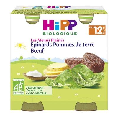 Epinards pommes de terre boeuf 250g dès 12 mois Hipp