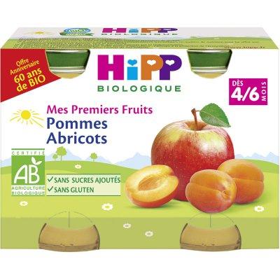 Petits pots mes premiers fruits: pommes abricots Hipp