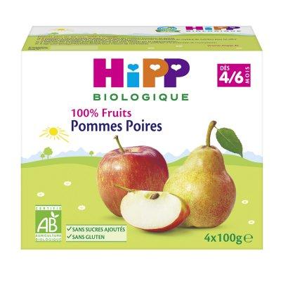 Coupelles 100% fruits pommes poires Hipp