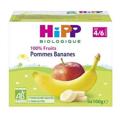 Coupelles 100% fruits pommes bananes Hipp