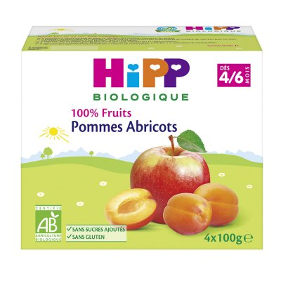 Coupelles 100% fruits pommes abricots Hipp