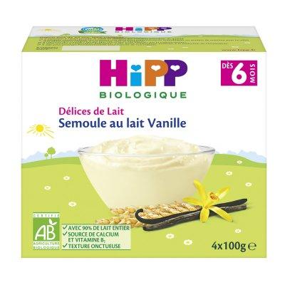 Semoule au lait vanille 4 x 100 g Hipp