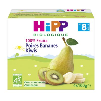 Coupelles 100% fruits poires bananes kiwis Hipp