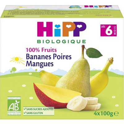Coupelles 100% fruits bananes poires mangues Hipp