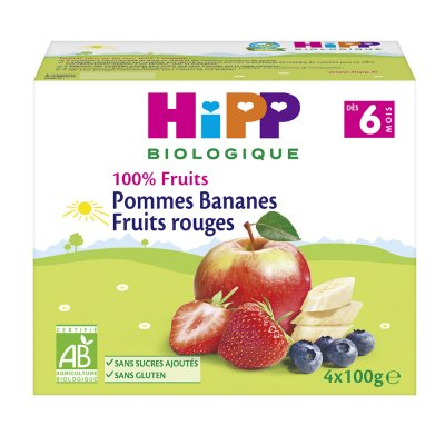 Coupelles 100% fruits pommes bananes fruits rouges Hipp