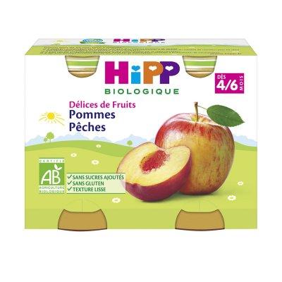 Délices de fruits pommes pêches 2x190 g dès 4 mois Hipp