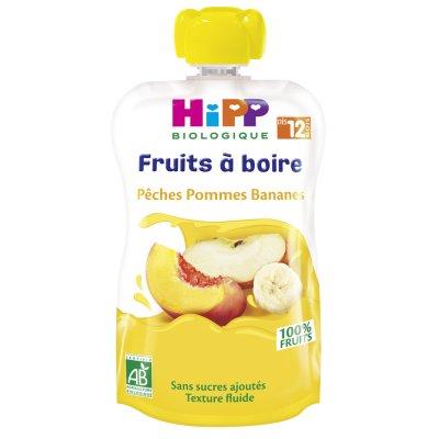 Gourde pêches pommes bananes 120ml dès 12 mois Hipp