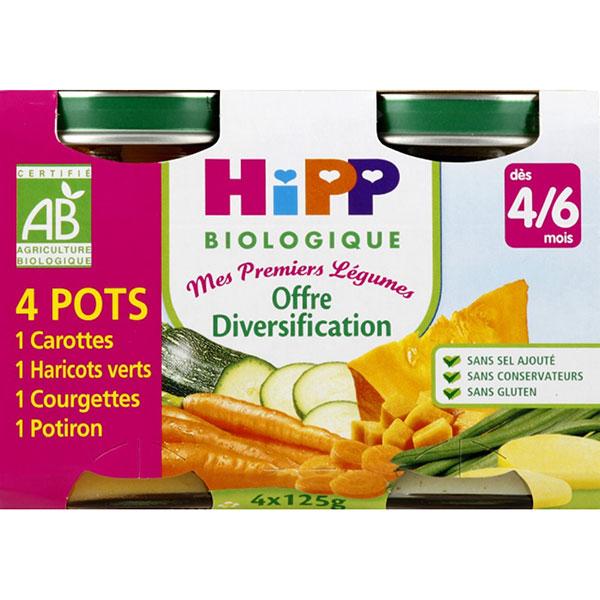 Mes premiers légumes: carottes, haricots verts, courgettes, potiron Hipp