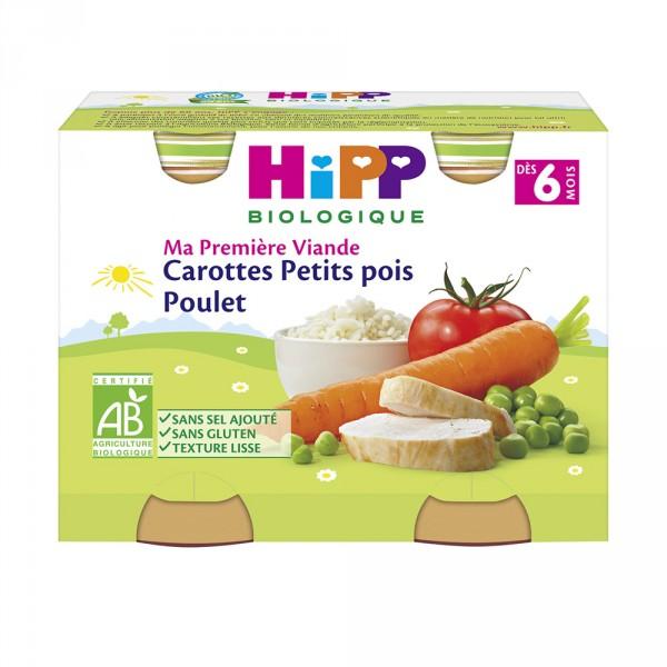 Carottes petits pois poulet 190 g dès 6 mois Hipp