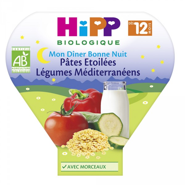 Assiette pâtes étoilées légumes méditerranéens 230 g Hipp