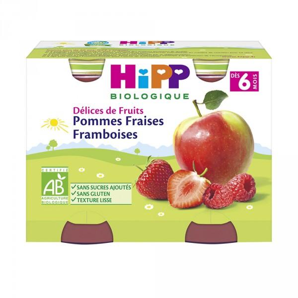 Pommes fraises framboises 2x190 g dès 6 mois Hipp