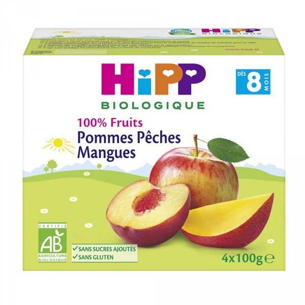 Coupelles 100% fruits pommes pêches mangues Hipp