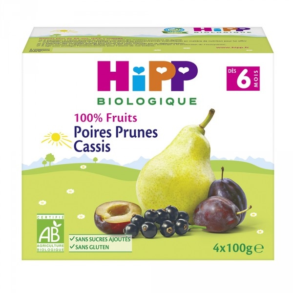 Coupelles 100% fruits poires prunes cassis Hipp