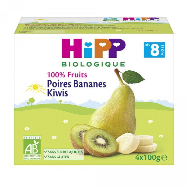 Coupelles 100% fruits poires bananes kiwis Hipp