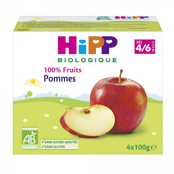 Coupelles 100% fruits pommes Hipp
