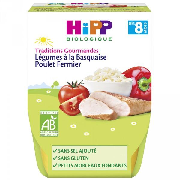Bols légumes à la basquaise poulet fermier 2 x 190 g Hipp