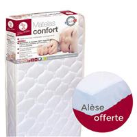 Matelas bébé confort 60x120cm + alèse offert