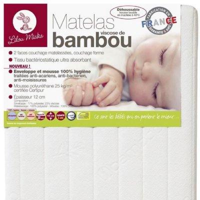 Matelas bébé viscose bambou 60 x 120 cm Lilou miaka